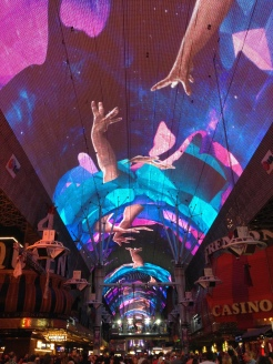 The light show at the Fremont Street Experiencee